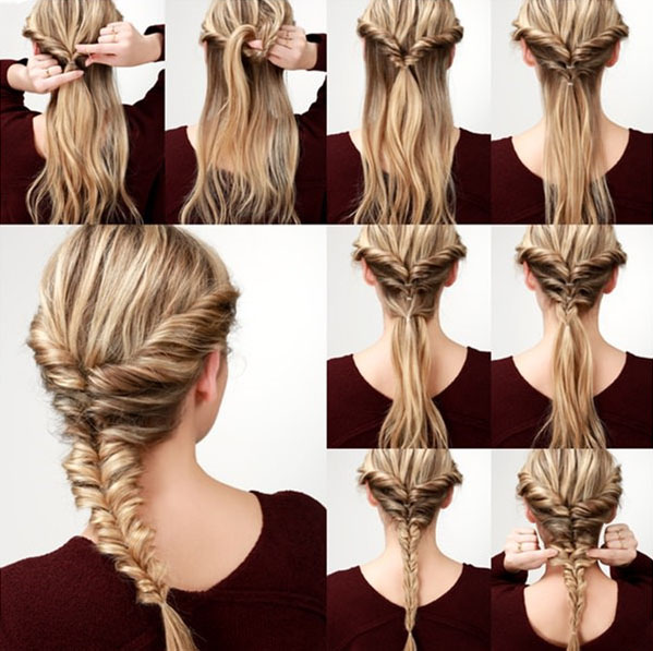Tutorial of making a fresh fishtail braid hairstyle