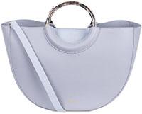 grey curved handbag